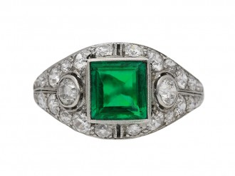 front view art deco emerald diamond ring berganza hatton garden