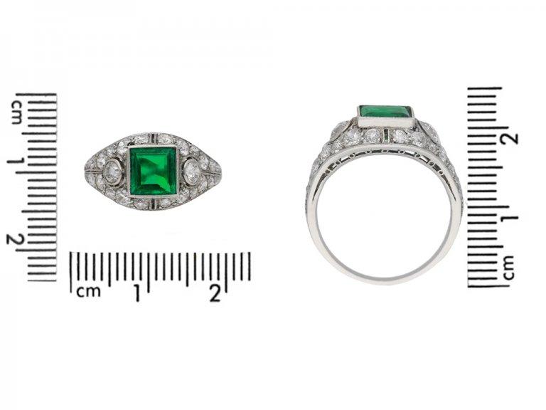 front view art deco emerald diamond ring berganza hatton garden