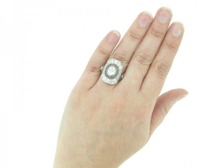 front Gorham diamond cluster ring hatton garden berganza
