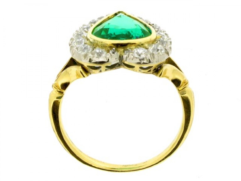 back view Antique emerald and diamond coronet cluster ring, circa 1905.