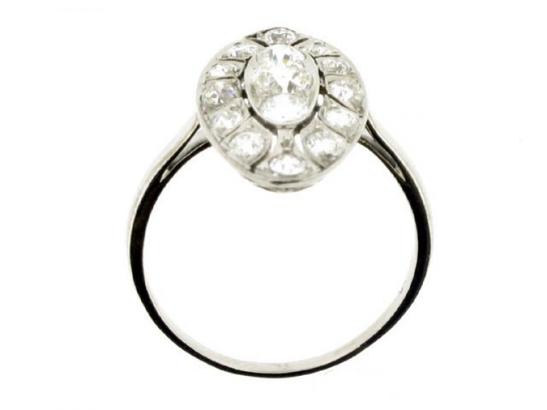 back view Antique marquise shape diamond cluster ring, circa 1905.