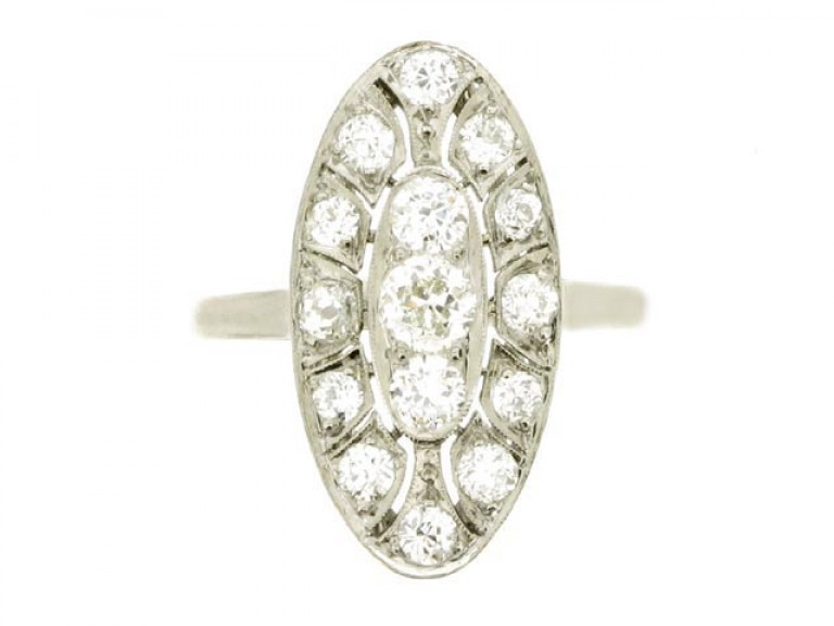 front view Antique marquise shape diamond cluster ring, circa 1905.