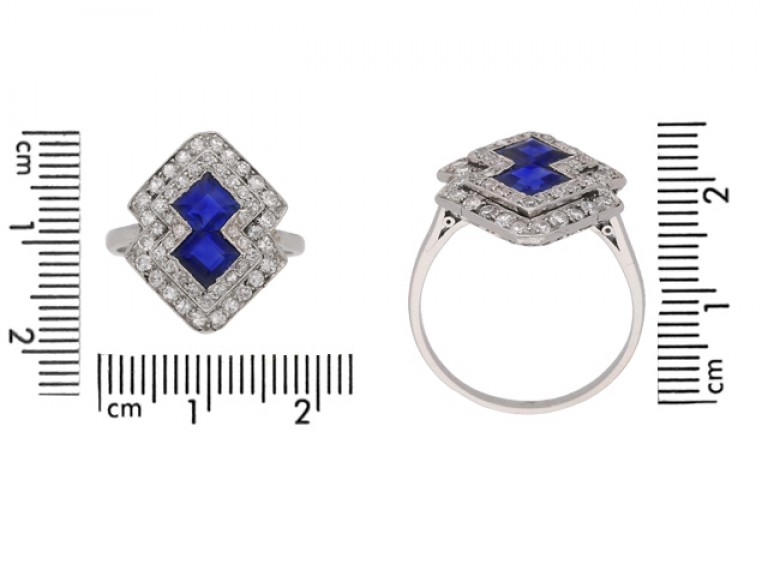 art deco diamond sapphire ring berganza hatton garden