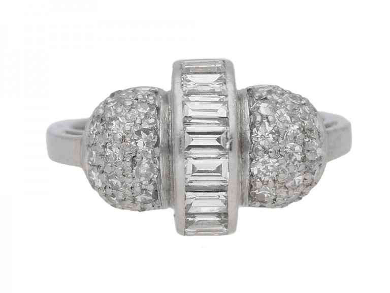 front view Art Deco cocktail ring, circa 1935.