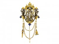 front view Froment Meurice enamel chatelaine pendant set with pearls and lapis