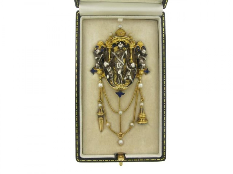 boxed view Froment Meurice enamel chatelaine pendant set with pearls and lapis