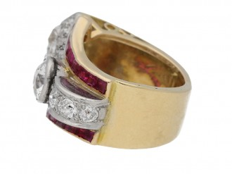 front view Diamond and ruby cocktail ring, circa 1940.