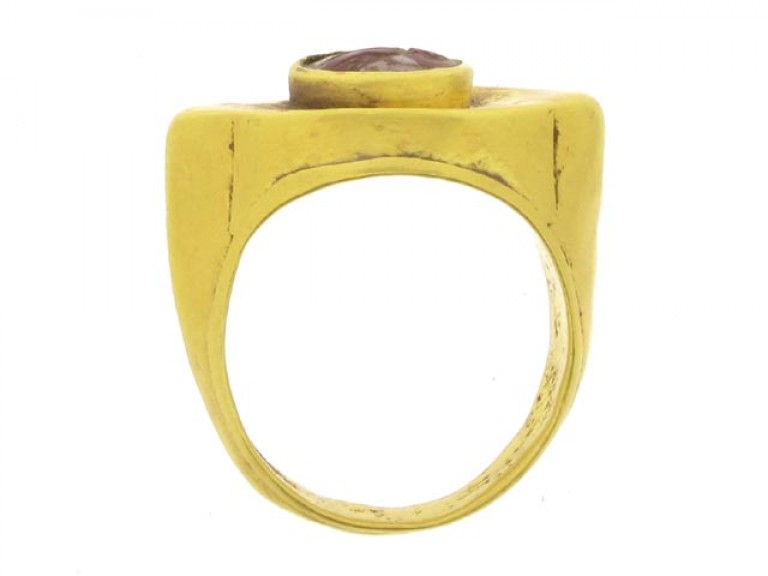back view Ancient Roman cornelian signet ring