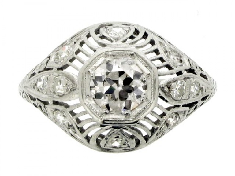 front view Ornate diamond cluster ring,