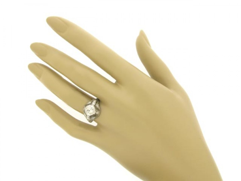 hand view Ornate diamond cluster ring,