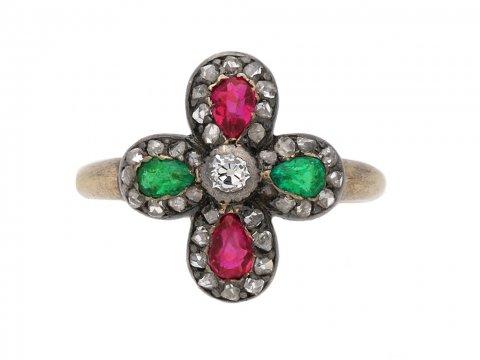 antique emerald ruby diamond ring berganza hatton garden