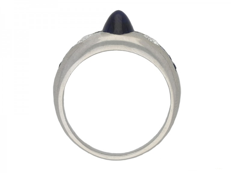 Cabochon and calibré sapphire diamond ring berganza hatton garden