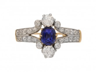 front view Antique sapphire and diamond ring, circa 1905.