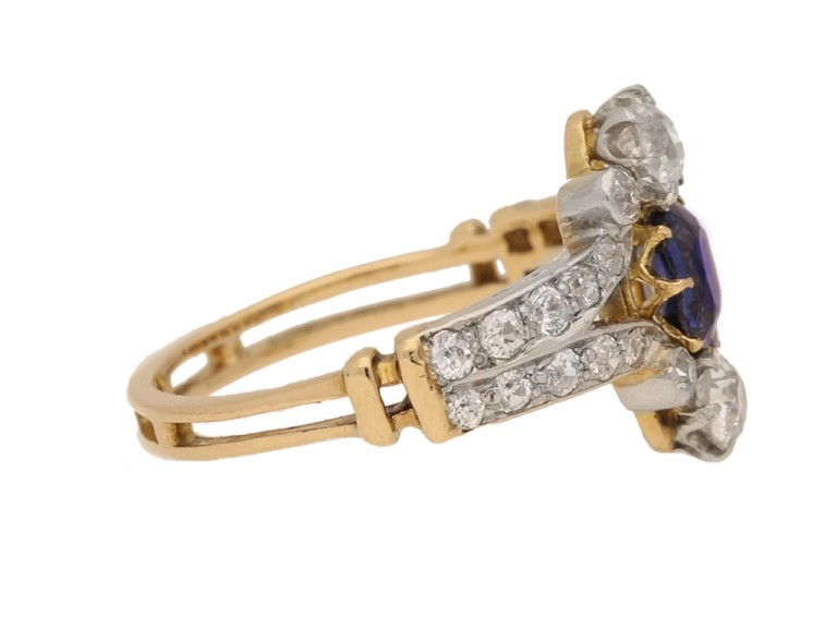 side view Antique sapphire and diamond ring, circa 1905.