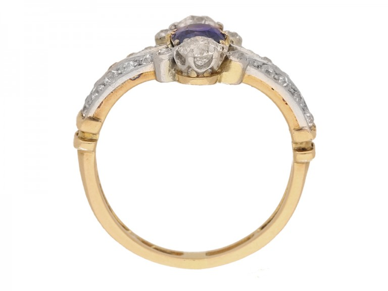 back view Antique sapphire and diamond ring, circa 1905.