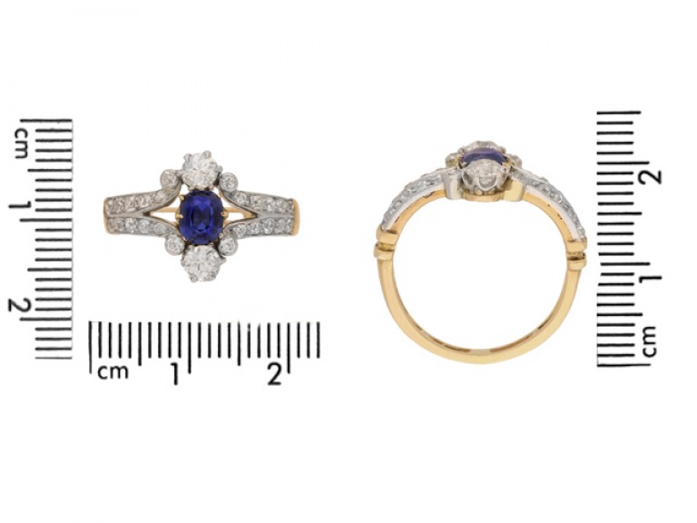 size view Antique sapphire and diamond ring, circa 1905.