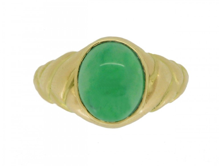 front view Antique solitaire jade locket ring, circa 1870.