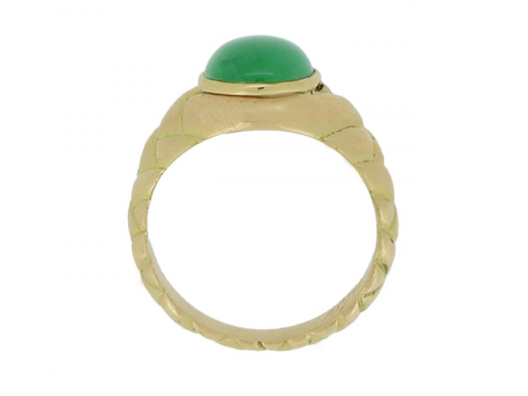 back view Antique solitaire jade locket ring, circa 1870.