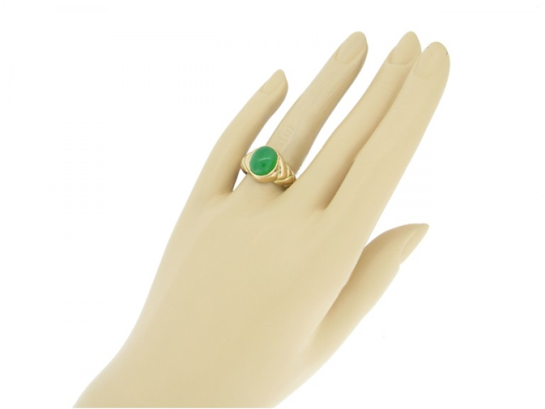 hand view Antique solitaire jade locket ring, circa 1870.