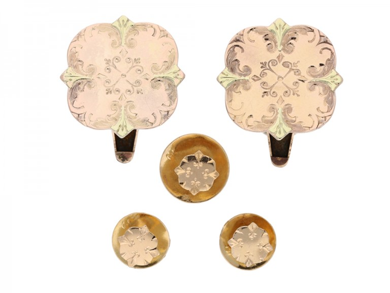 front view Gold cufflinks and three studs, French, circa 1900.