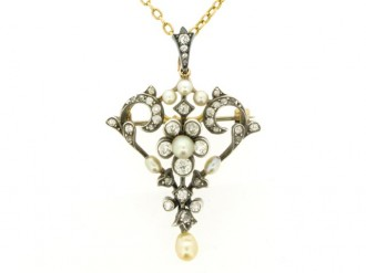 front view Gass & Co. pearl and diamond pendant/brooch