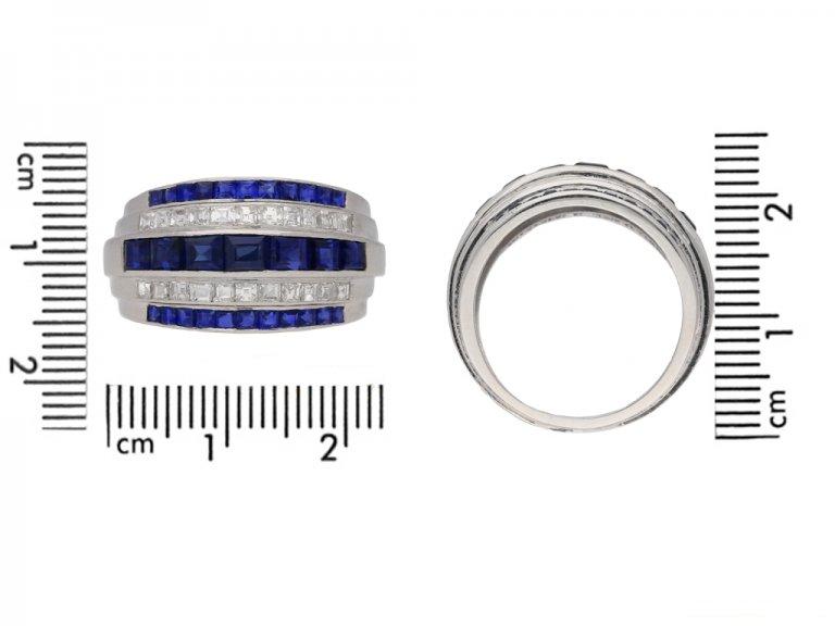 front view yard diamond sapphire ring berganza hatton garden