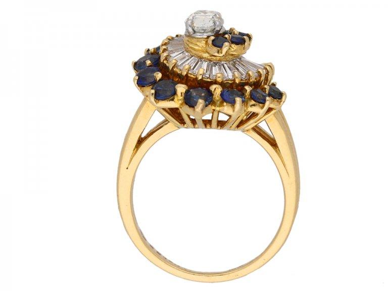 front view Oscar Heyman diamond sapphire ring hatton garden berganza
