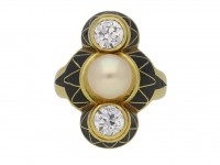 art Nouveau diamond pearl ring berganza hatton garden