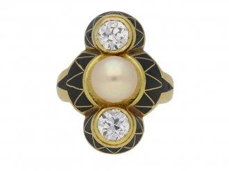 art Nouveau diamond pearl ring berganza hatton garden