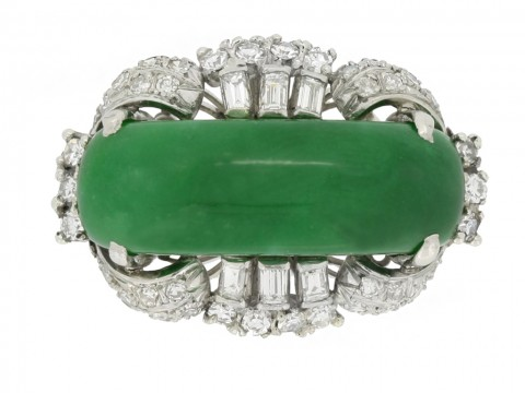front view Jade and diamond ring, circa 1950.