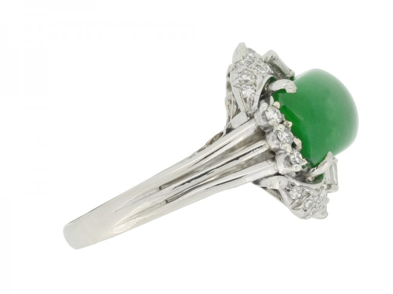 side view Jade and diamond ring, circa 1950.