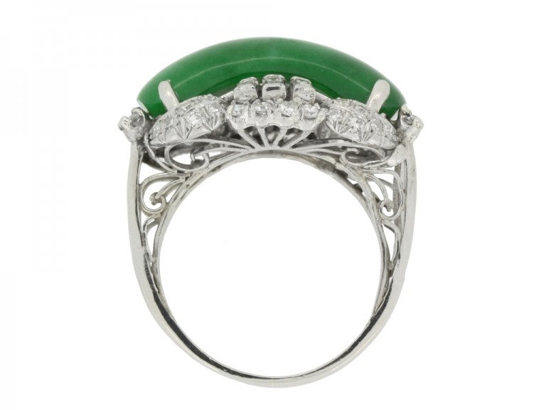 back view Jade and diamond ring, circa 1950.