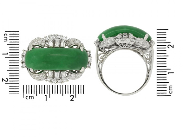size view Jade and diamond ring, circa 1950.