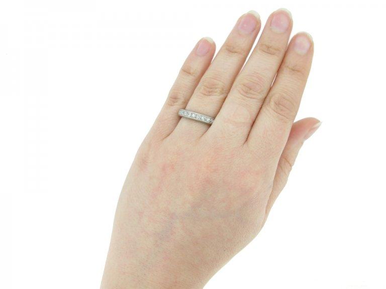 hand view Vintage eternity diamond ring berganza hatton garden