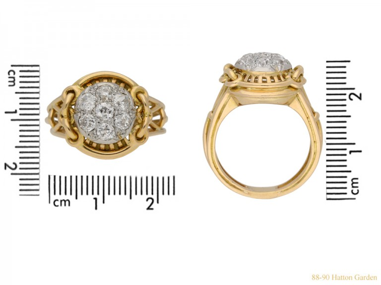 size view vintage Diamond cocktail ring berganza hatton garden
