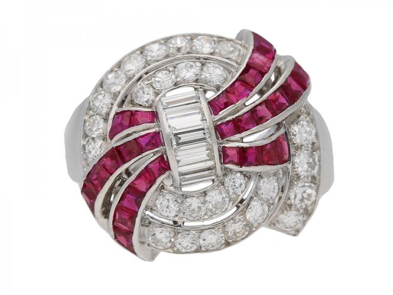 Art Deco diamond ruby cluster ring hatton garden