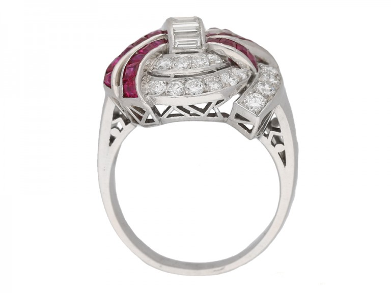 back view Art Deco diamond ruby cluster ring hatton garden