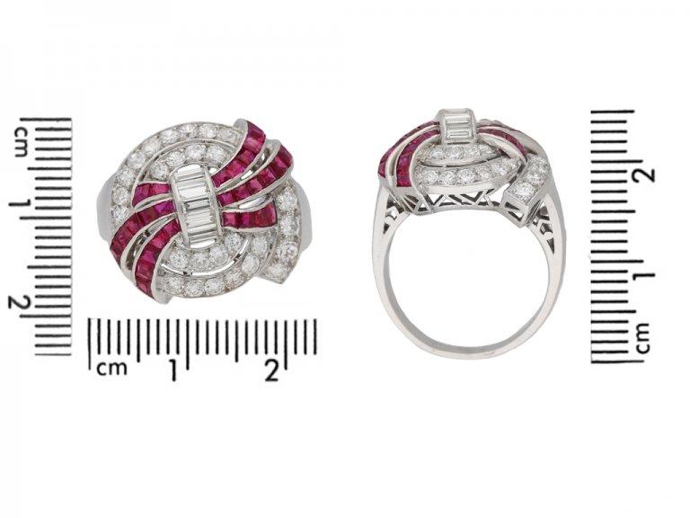 size view Art Deco diamond ruby cluster ring hatton garden