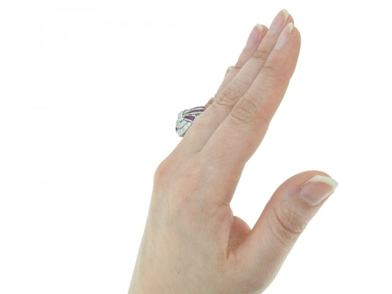 hand view Art Deco diamond ruby cluster ring hatton garden