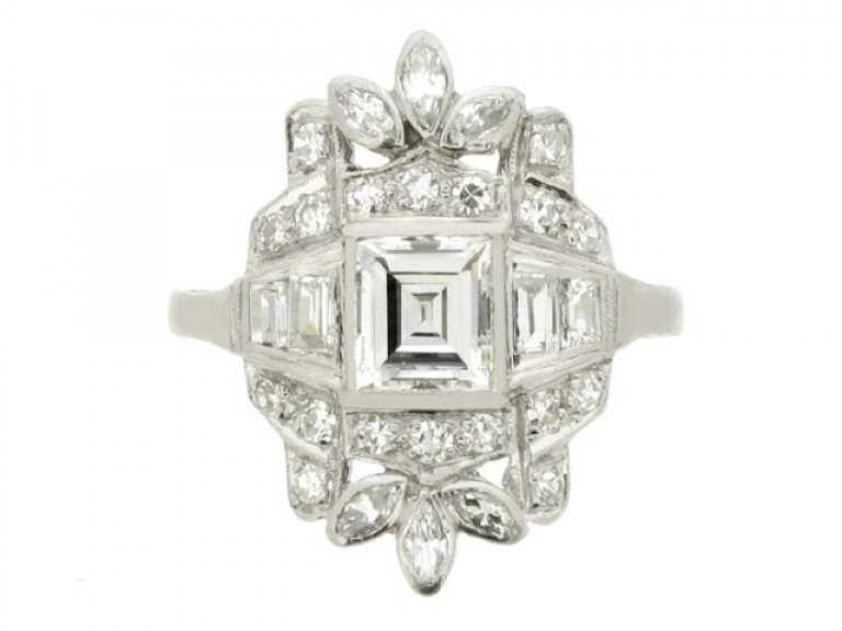 front view Baguette, round, and marquise diamond cluster ring