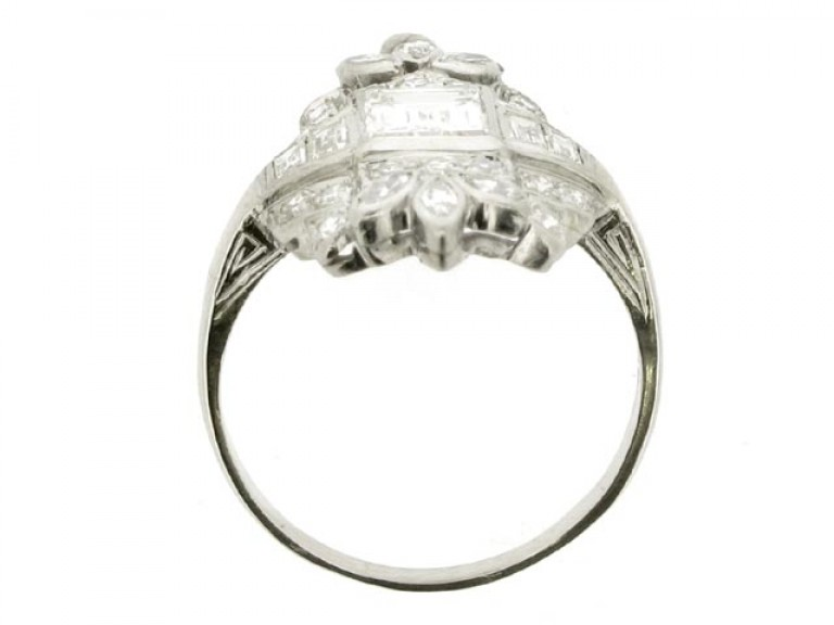 back view Baguette, round, and marquise diamond cluster ring