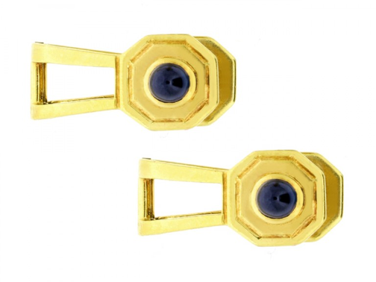 front view Cabochon sapphire cufflinks, circa 1950.