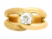 front view Old cut solitaire diamond ring, circa 1945.