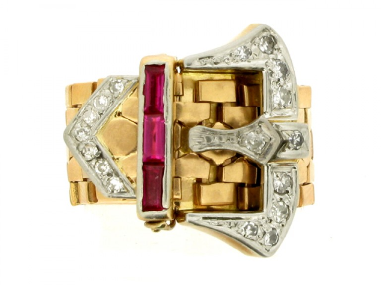 front view Synthetic ruby and diamond buckle ring, circa 1940.