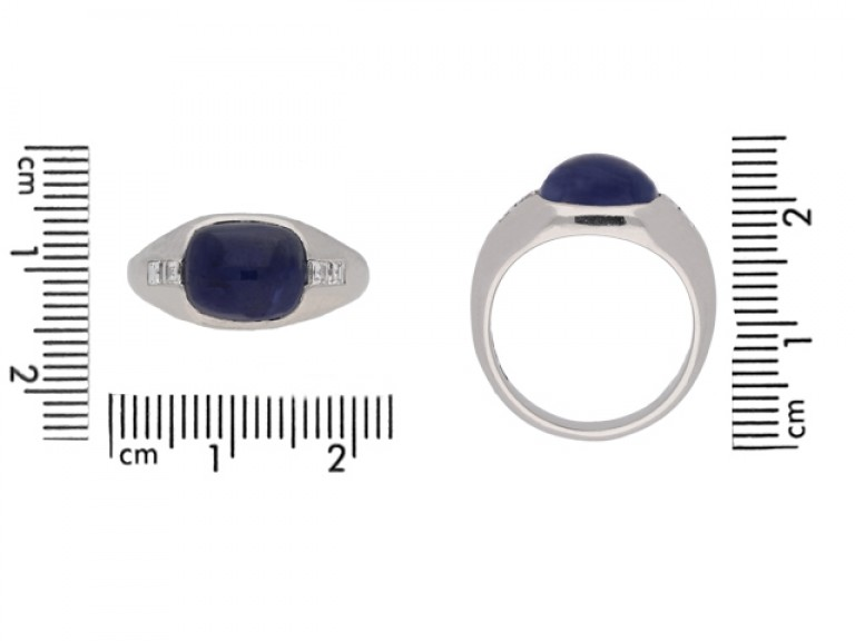 size view Cabochon sapphire and square diamond ring, Swedish, circa 1949.