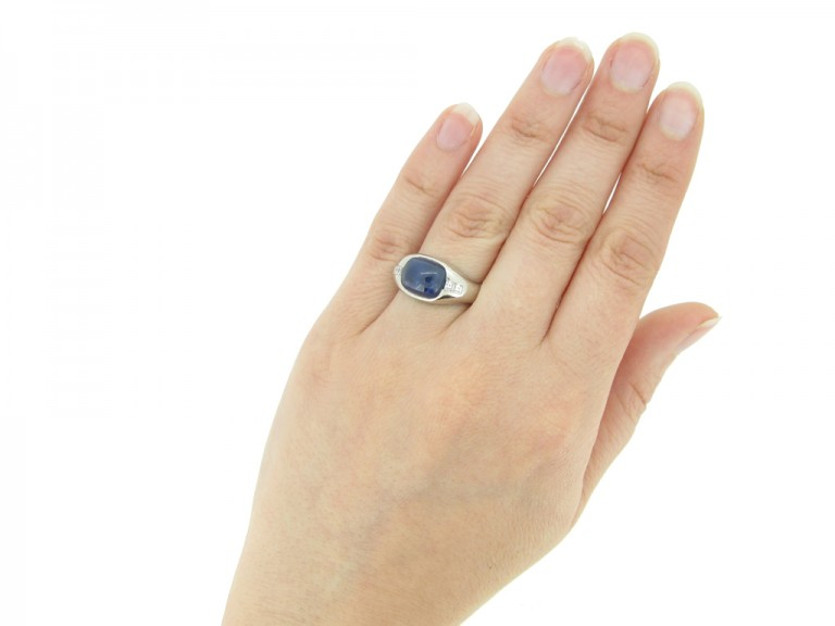 hand view Cabochon sapphire and square diamond ring, Swedish, circa 1949.
