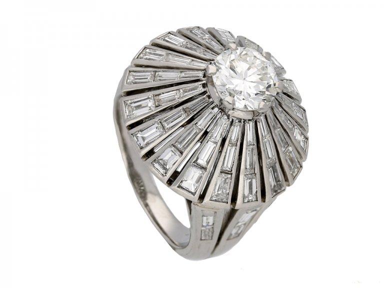 side view vintage diamond cluster ring berganza hatton garden