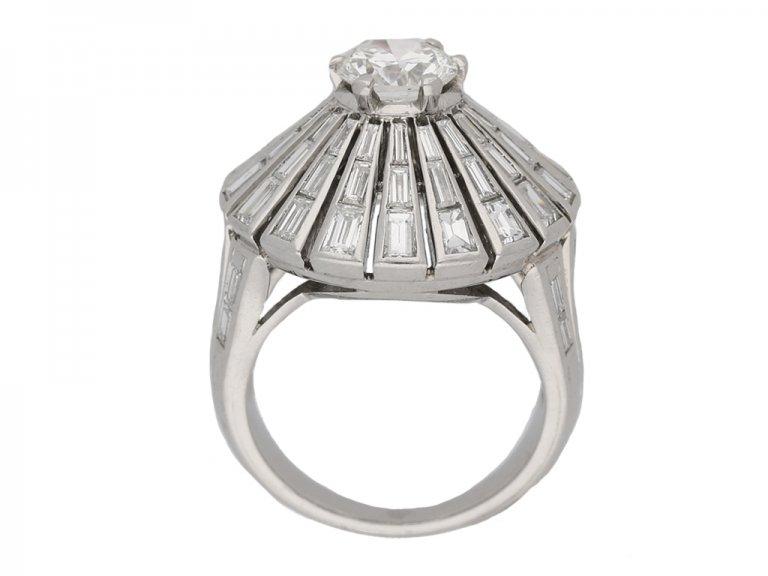 back view vintage diamond cluster ring berganza hatton garden