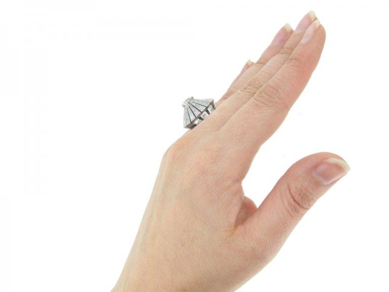 hand view vintage diamond cluster ring berganza hatton garden
