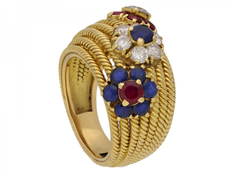front sapphire ruby diamond dress ring berganza hatton garden